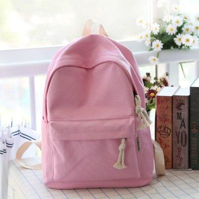 Simple fresh design pure color canvas girls backpack fashion leisure bag middleintothea-intothea