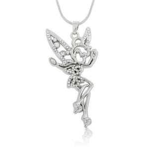 My Shape Tinkerbell Fairy Angel Jewelry Clear Rhinestone Necklace Crystal Wings Silverintothea-intothea