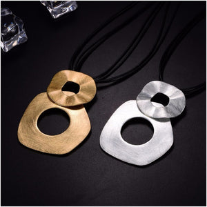 HONGYE Punk Multilayer Black Pu Leather Necklace Irregular Double Round Big Circleintothea-intothea