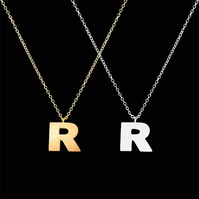 1PCS Fashion Initial Letter Necklace Stainless Steel Chain Suspension Alphabet Alfabet Chokerintothea-intothea