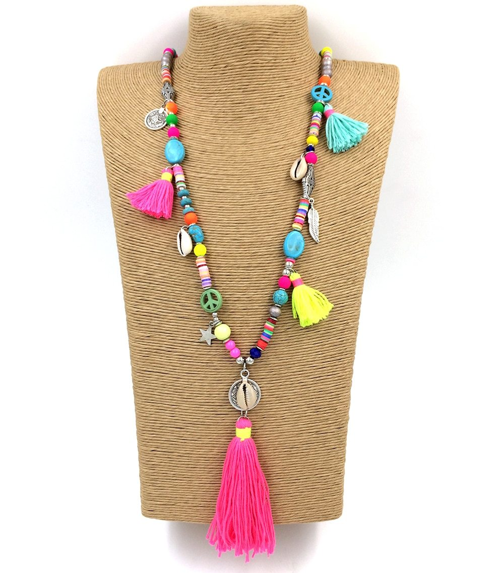 New Handmade Tassel Pendents Necklace Boho Chic Bohemiam Long Statement Necklaces intothea-intothea