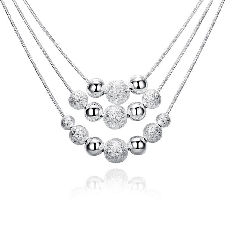 Silver Necklace 925 Women Fashion 3 Layer Beads Necklaces & Pendants Linkintothea-intothea