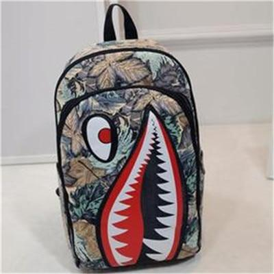 2017 New Cartoon Backpack Hip Hop Big Shark Mouth Pattern Funny Rucksackintothea-intothea