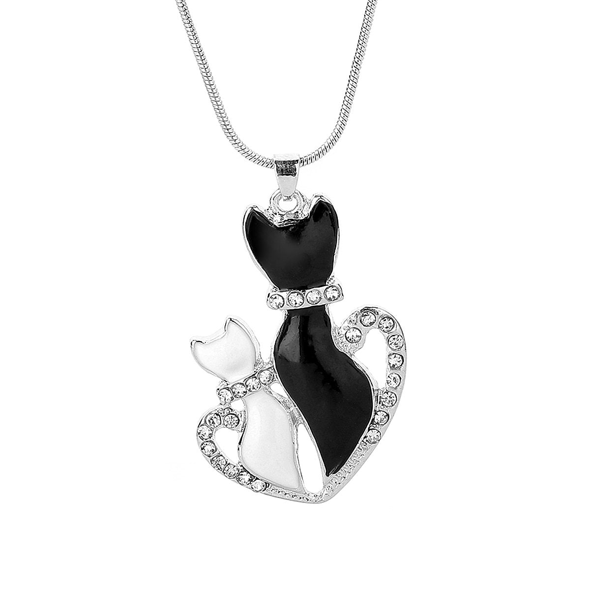 Lovely Pet Chain Necklaces Charms Crystal Black And White Cat Loveintothea-intothea