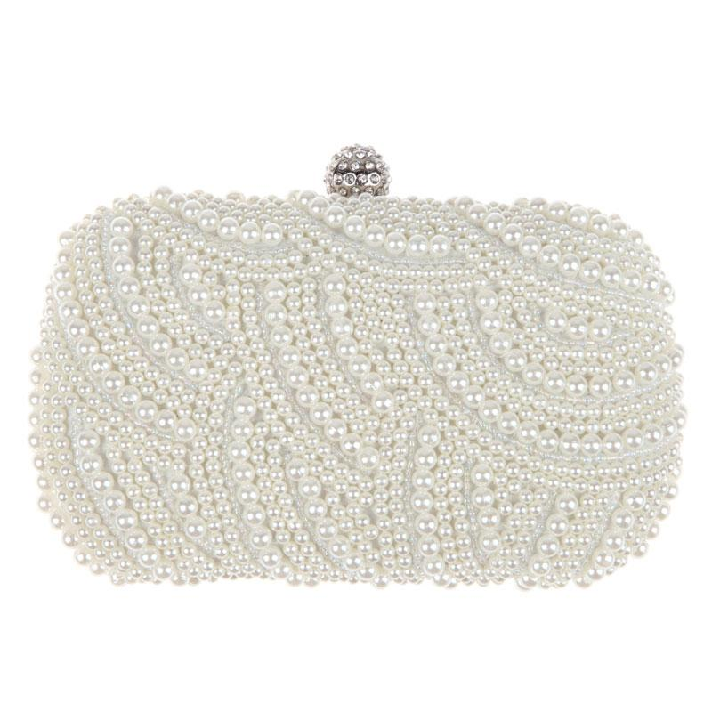 Oval Shaped Pearl Beaded Handbag Women White Clutch Bag Elegant Long Chainintothea-intothea