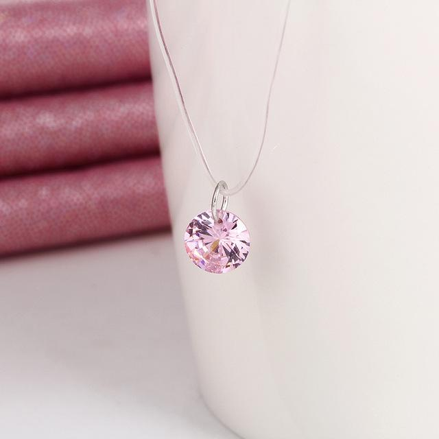Silver color Dazzling 8mm Zircon Necklace And Invisible Transparent Fishing Lineintothea-intothea