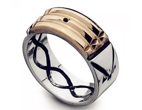 Seven Blessings S spinning ring with stainless steel talisman amulet atlantis ringintothea-intothea