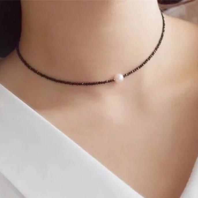 2017 Trendy Fashion Temperament Rhinestone Choker Necklace Delicate Simulated Pearl Short Clavicleintothea-intothea