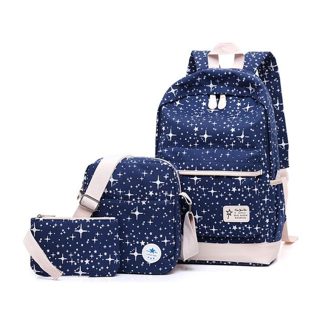 Fashion Women Canvas Space Backpack Schoolbags School For Girl Teenagers Casual Travelintothea-intothea