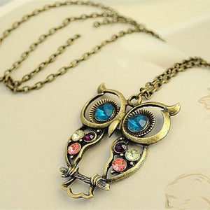 New Vintage Retro Hollow Owl Necklace Rhinestone Jewelry Animal Pendent 4ND86intothea-intothea