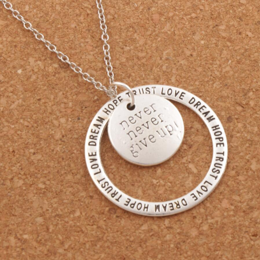 Never Nerver Give Up Love Dream Hope Trust Pendant Necklaces 24 inchesintothea-intothea