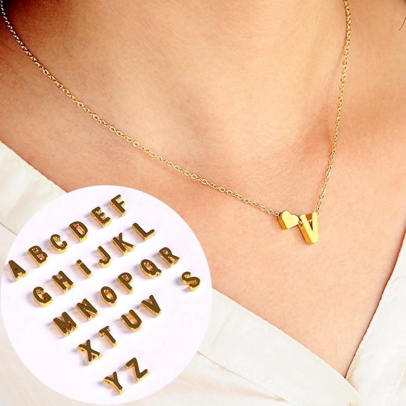 1PC Hot Fashion Golden Silvery 26 English Letters Alloy Heart Link Chainintothea-intothea