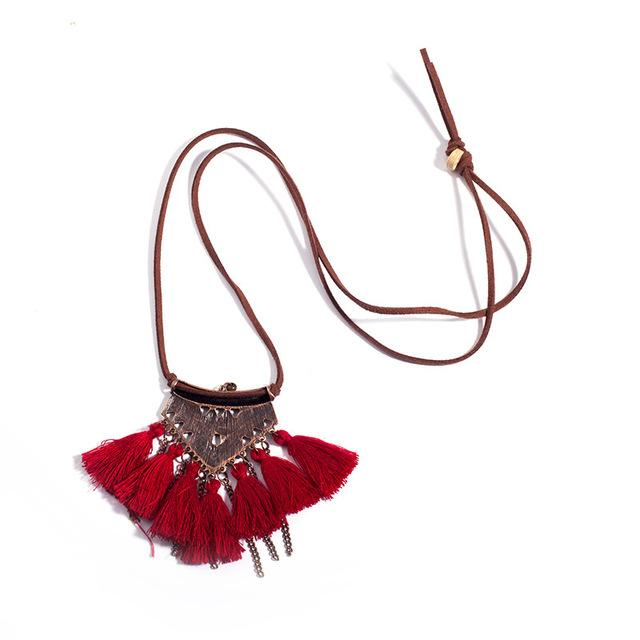 Women Boho Ethnic Tassel Choker Pendant Necklace Long Leather Rope Chain Vintageintothea-intothea