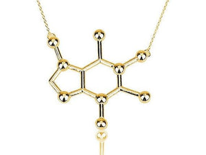 Jisensp New Simple Caffeine Molecule Necklace Structure Chemistry Women and Men Necklaceintothea-intothea