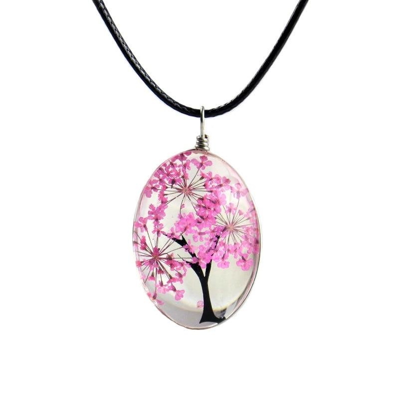Retro Jewelry Real Dried Flower Necklace Tree of Life Shapedintothea-intothea