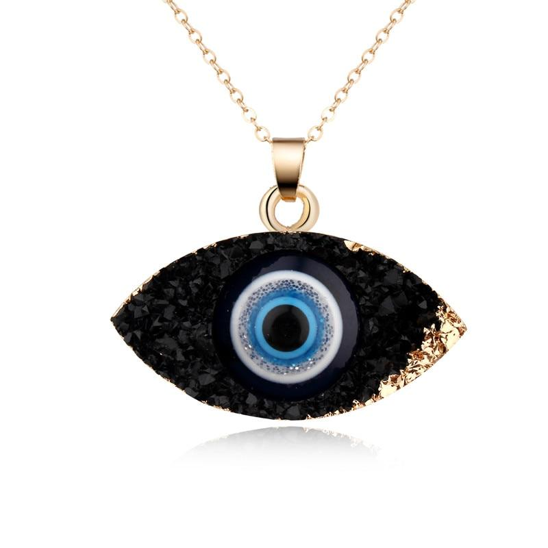 European Simple Evil Eye Pendant Necklace Women Resin Handmade Chains Necklacesintothea-intothea