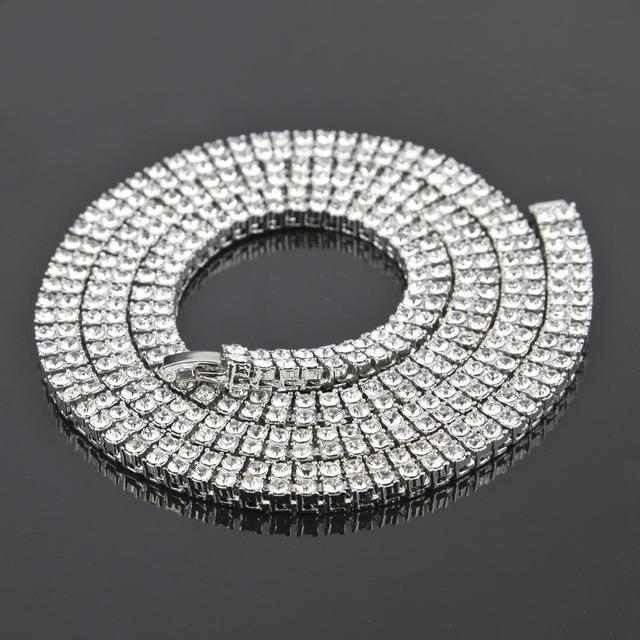 Top Quality 2 Row 20inch-30inch Mens Hiphop Gold Chain Round Cut Rhinestoneintothea-intothea