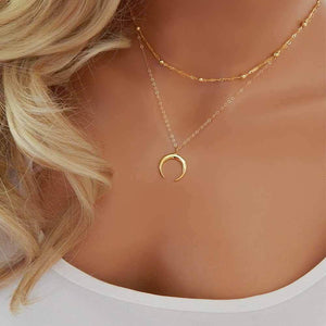 2017 New Fashion Double Horn Necklace Crescent Moon Necklace Boho Jewelryintothea-intothea