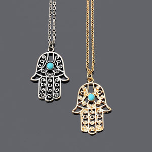 2016 New Vintage Brand Design Gold Luck Hamsa Hand Pendants Necklaceintothea-intothea