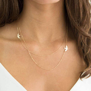 New Hot Double layer Peace Pigeon Necklace Layered Simple Birdsintothea-intothea