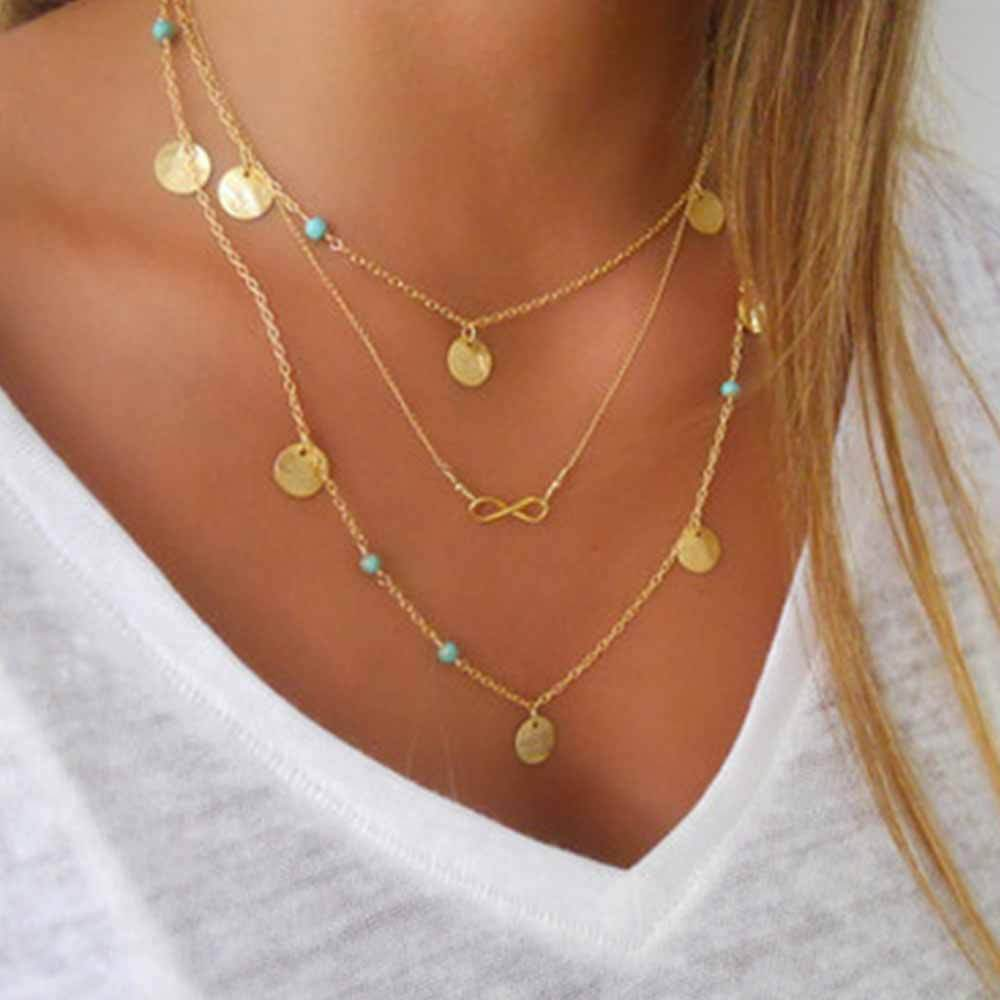 New Multi Layer Chain Gold Color Tassel Infinity Necklace for Womenintothea-intothea