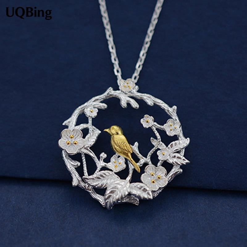 925 Sterling Silver Necklaces Gold Bird Pendants&Necklaces Pure Sterling Silver 925 Chainintothea-intothea