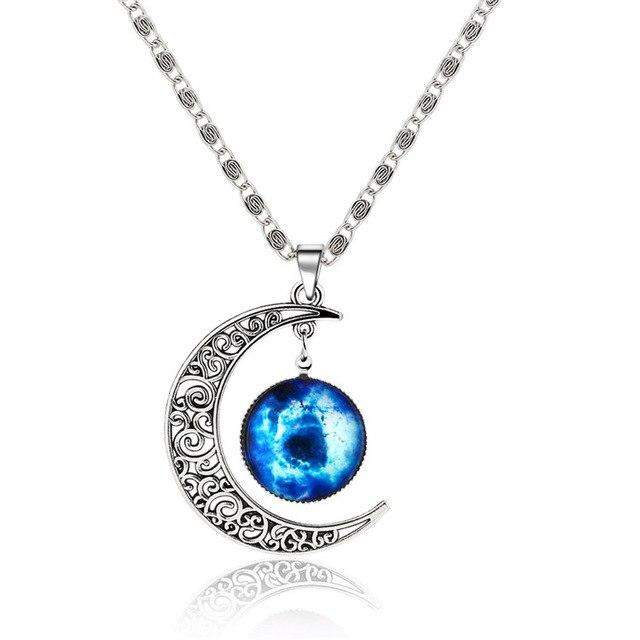 Silver Color Jewelry Fashion Moon Statement Necklace Glass Galaxy Lovely Necklace&Pendantsintothea-intothea