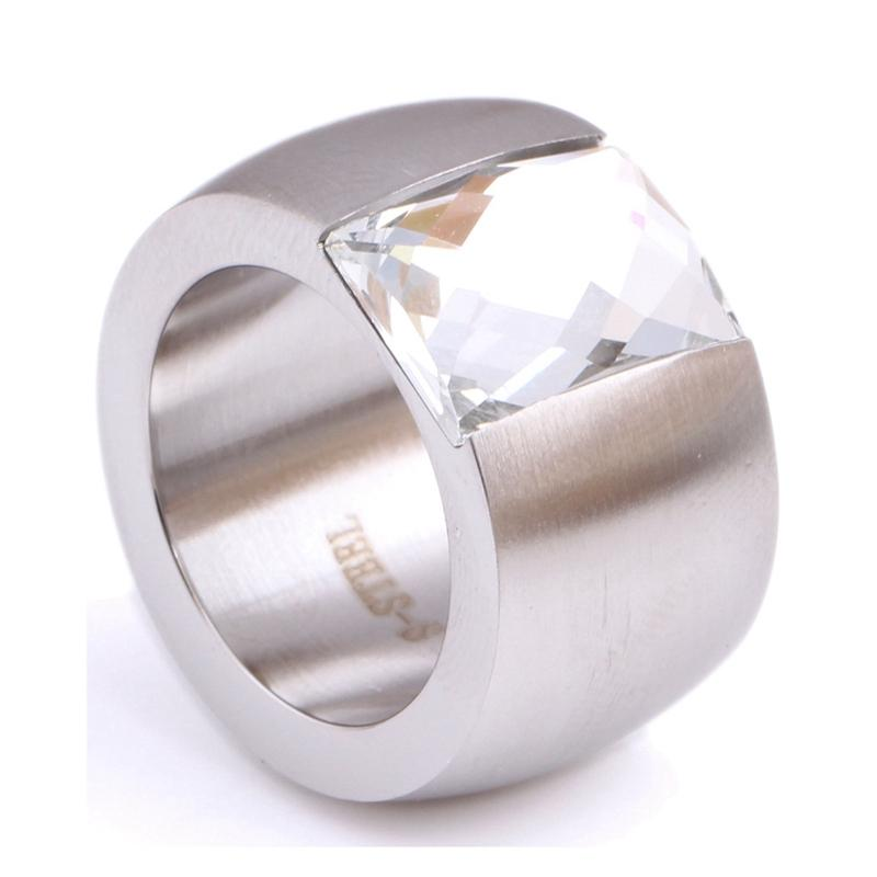 Fashion 14mm Luxury Gold/Silver Color Large Stainless Steel Crystal Rings Femaleintothea-intothea