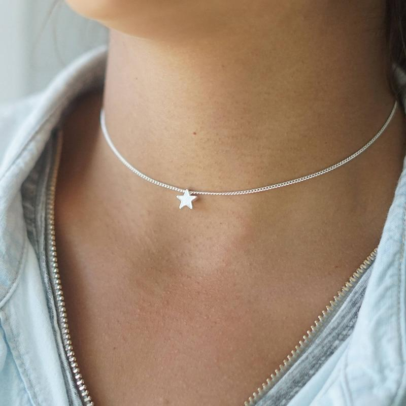 New Fashion Silver Star Choker Necklace, Bohemian Jewelry XL831intothea-intothea