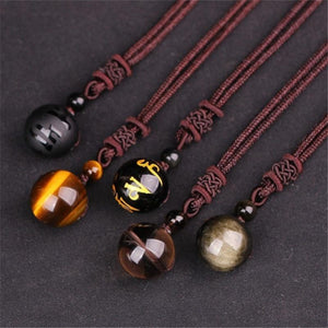 Handmade Natural 16mm Black Obsidian Glod Obsidian Tiger Eye Stone Pendant Transferintothea-intothea
