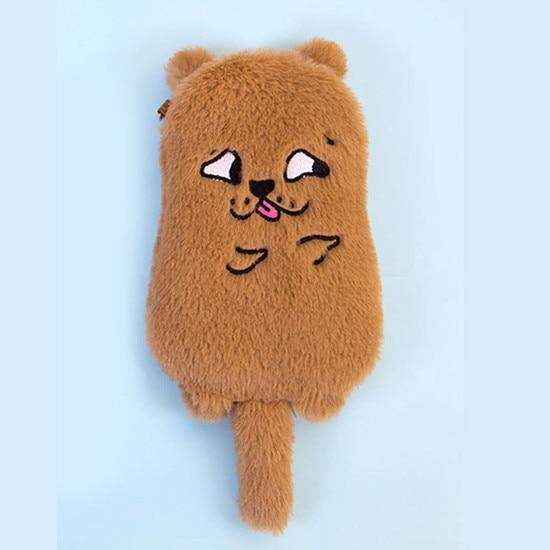 Lovely plush fur strap women crossbody bag funny animal cell phone pocketintothea-intothea