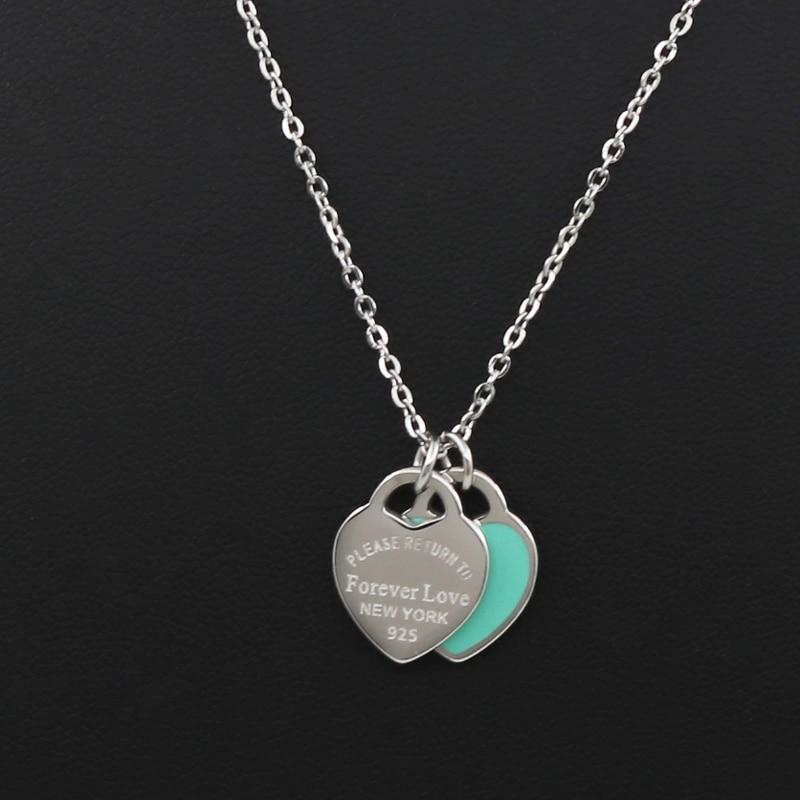 New Arrival Love Double Heart Enamel Ladie FOREVER LOVE Stainless Steel Necklaceintothea-intothea