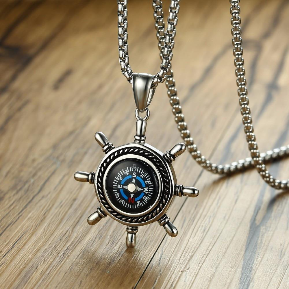 High Rudder Compass Pendant Necklace for Men Stainless Steel Outdoor Hiking Unisexintothea-intothea