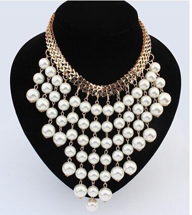 Ruili fashion jewelry Simulated pearl necklace big exaggeration multilayer tassel pearlintothea-intothea