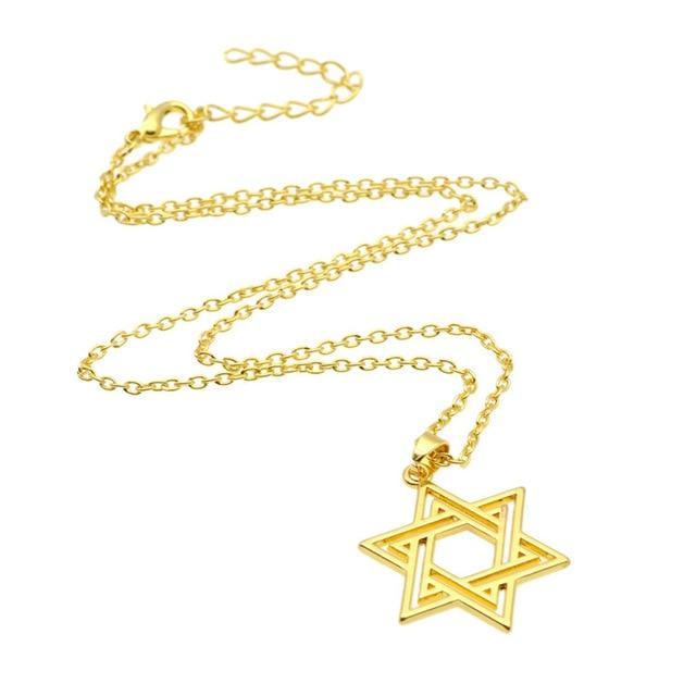 Jewish Star of David Charm Necklace Silver Gold Pendant Chain Statement Jewelryintothea-intothea