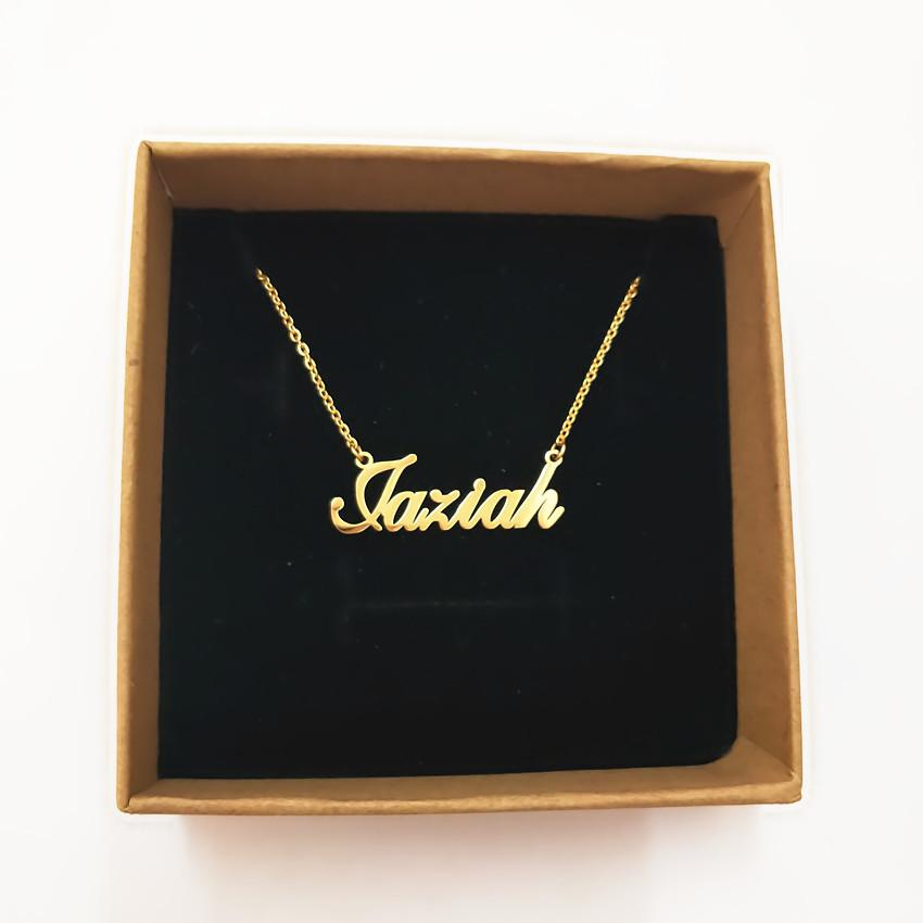 314L Stainless Steel Gold Personalized Custom Name Pendant Necklace Customized Cursive Nameplateintothea-intothea