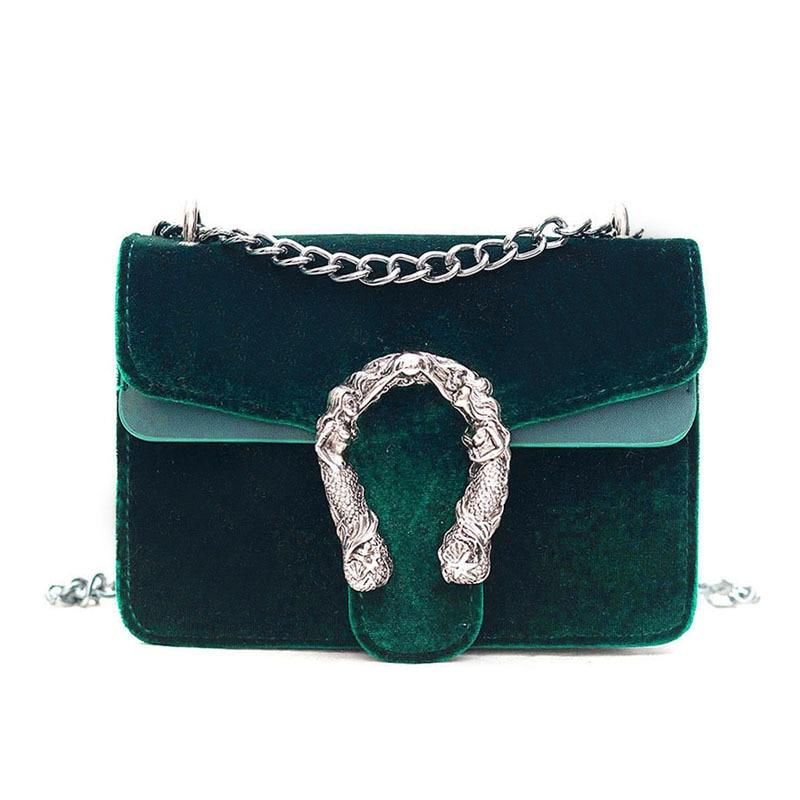 New Fashion Brand Designer Women Messenger Bag Velvet Chain Small Flap Bagintothea-intothea