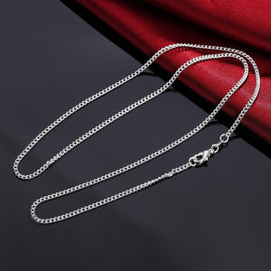 2PCS LN029 16-30inches 2mm chain silver Necklace jewelry cute Beautiful fashion womenintothea-intothea
