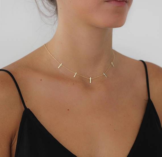 simple bar polished bar dainty delicate 5 link chain bar charm fashionintothea-intothea