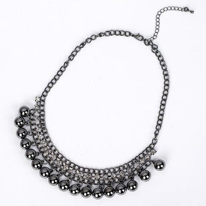 New Luxury Jewelry vintage Black Balls Crystal Necklace. Charm collar statement chokerintothea-intothea