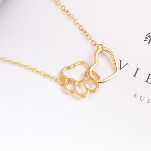 Simple Fashion Necklace Material Sole Dog Paw Heart Pendant Chain Hollow Clavicleintothea-intothea