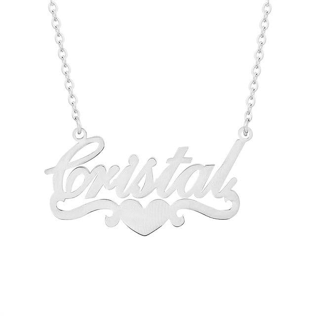 Trendy Handmade Custom Name Pendant With Heart Any Personalized Letter Choker Necklacesintothea-intothea