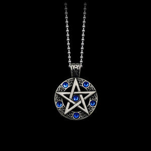 HOMOD Vintage Witch Necklace Gothic Pewter Pentagram Pentacle Pagan Wiccan Pandent Necklaceintothea-intothea