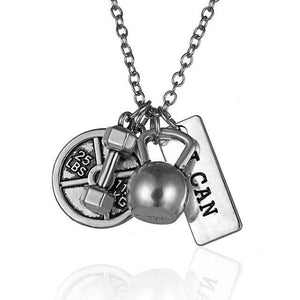 Vintage Dumbbell Necklace Barbell Gym Sport Fitness Weight Pendant Necklaces Menintothea-intothea