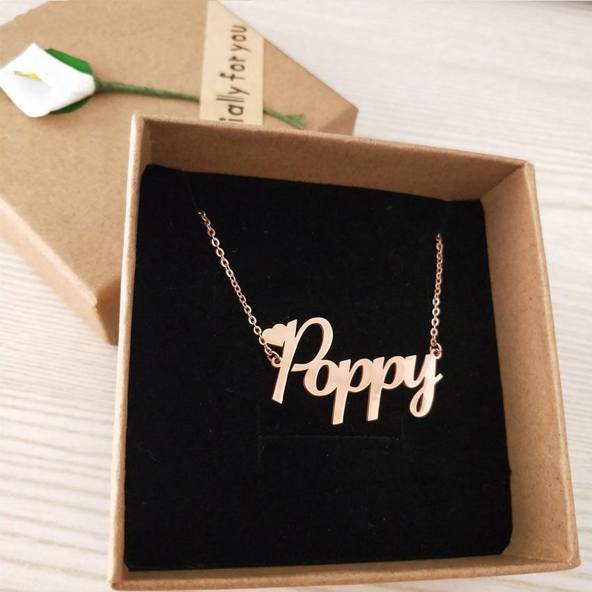 Customized Font Name Charm Necklace Personalized Custom Handwriting Name Plate Pendants Necklacesintothea-intothea