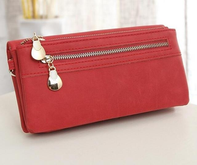High Capacity Fashion Women Wallets Long Dull Polish PU Leather Wallet Femaleintothea-intothea