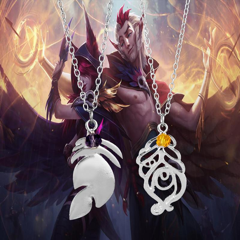 League Legends XAYAH and RAKAN Couples Necklace LOL Jewelry Charms Pendant Chokerintothea-intothea