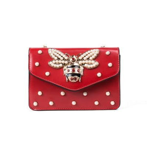 Women Brand Desinger Rhinestones Bee PU Leather Shoulder Bag Small Crossbody Bagintothea-intothea