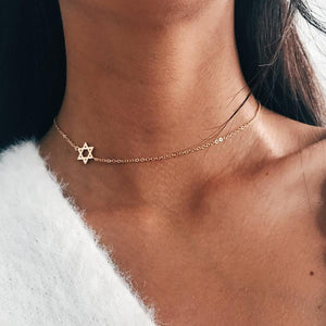 Sideways Star Of David Necklace For Women Tiny Star Simple Minimalist Charmintothea-intothea