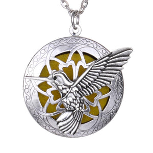 Hummingbird Essential Oil Diffuser Lockets Pendant Necklace Aromatherapy Jewelry with Linen Pouchintothea-intothea